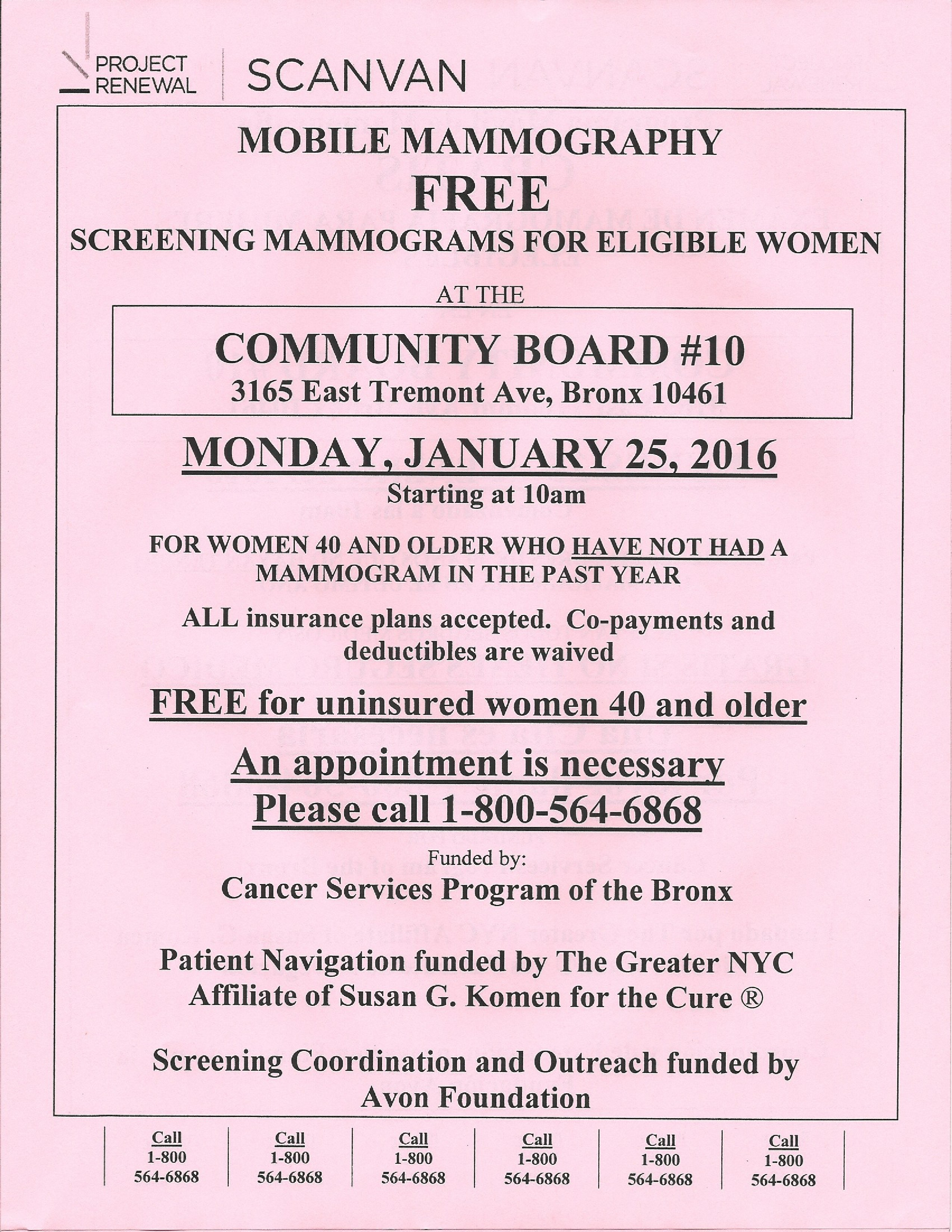 Mobile Mammography FREE! 1/25/16