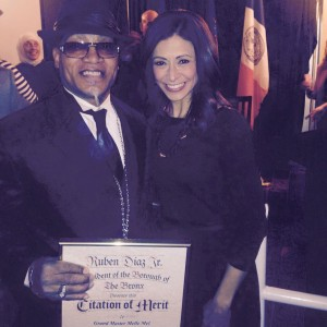 Grandmaster Melle Mel (left) was one of the many legends honored at the Inaugural Windows of Hip Hop Element Awards. Here he is with Lisa Mateo and his Certificate Merit award from BP Diaz.