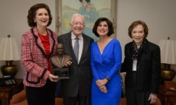 L-R: Lynda Johnson Robb, President  Jimmy Carter, Luci Baines Johnson, Rosalynn Carter. Photo by Michael A. Schwarz