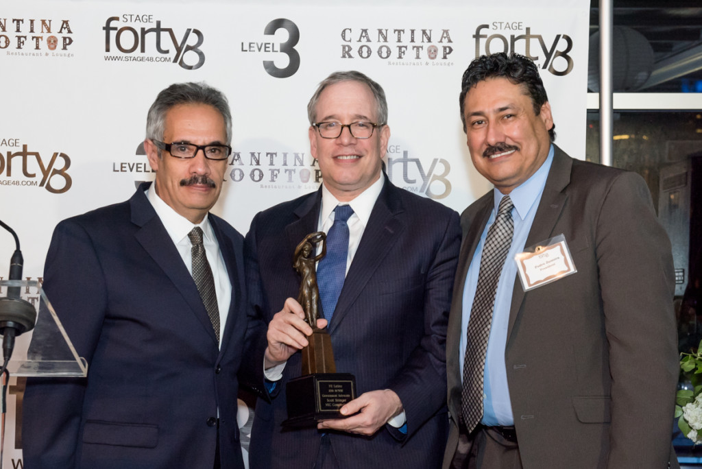 Alfred Placeres, Esg., NYC Comptroller Scott Stringer York City recipient of the M/WBE Government Advocate Award and Pedro Zamora.