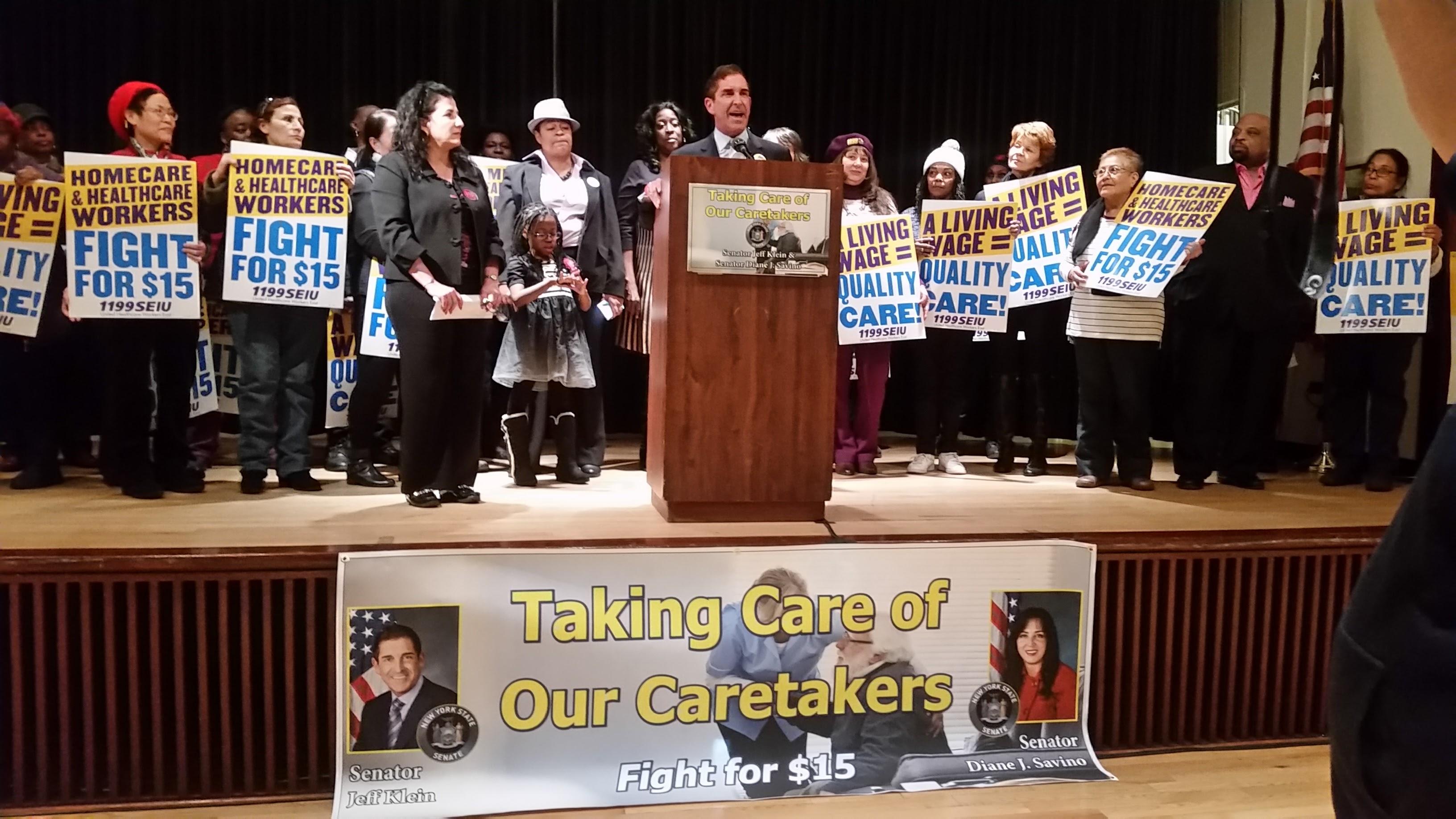 "Senators Klein & Savino Rally with 1199 SEIU to ""Fight For $15"" for Caretakers"