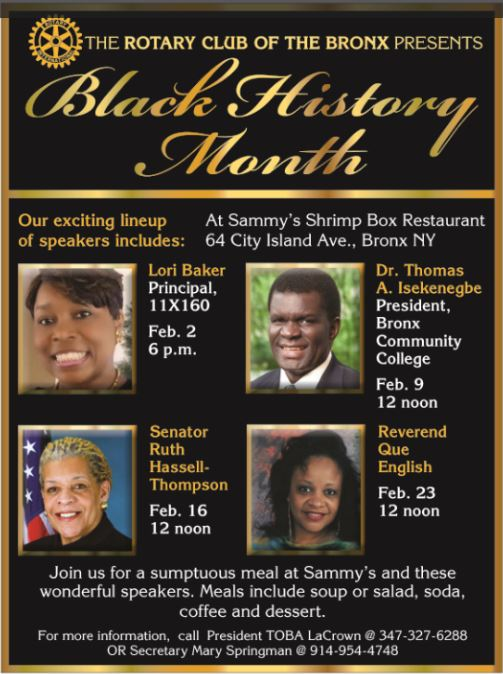 Bronx Rotary Club_Black History Month 2016