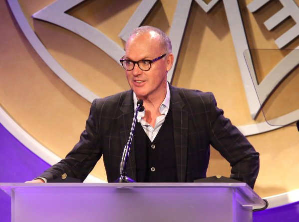 Actor Michael Keaton speaks at the 53rd Annual ICG Publicists Awards at The Beverly Hilton Hotel on February 26, 2016 in Beverly Hills, California. (Photo by Mathew Imaging/WireImage)