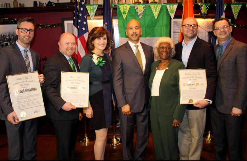 Pictured (left to right): Vice Consul General of Ireland Shane Cahill; James Quent, Statewide Public Affairs, Inc.; Mary Murphy, Reporter at PIX 11 News; Borough President Ruben Diaz Jr.; Deputy Borough President Aurelia Green; Keith Klain, former CEO of Doran Jones and Council Member Andrew Cohen.