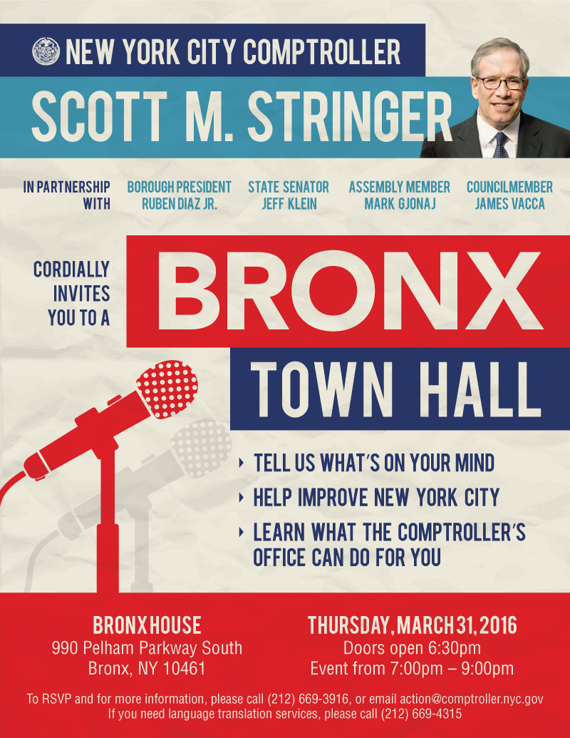 Nyc Comptroller Scott M Stringer Cordially Invites You To A Bronx