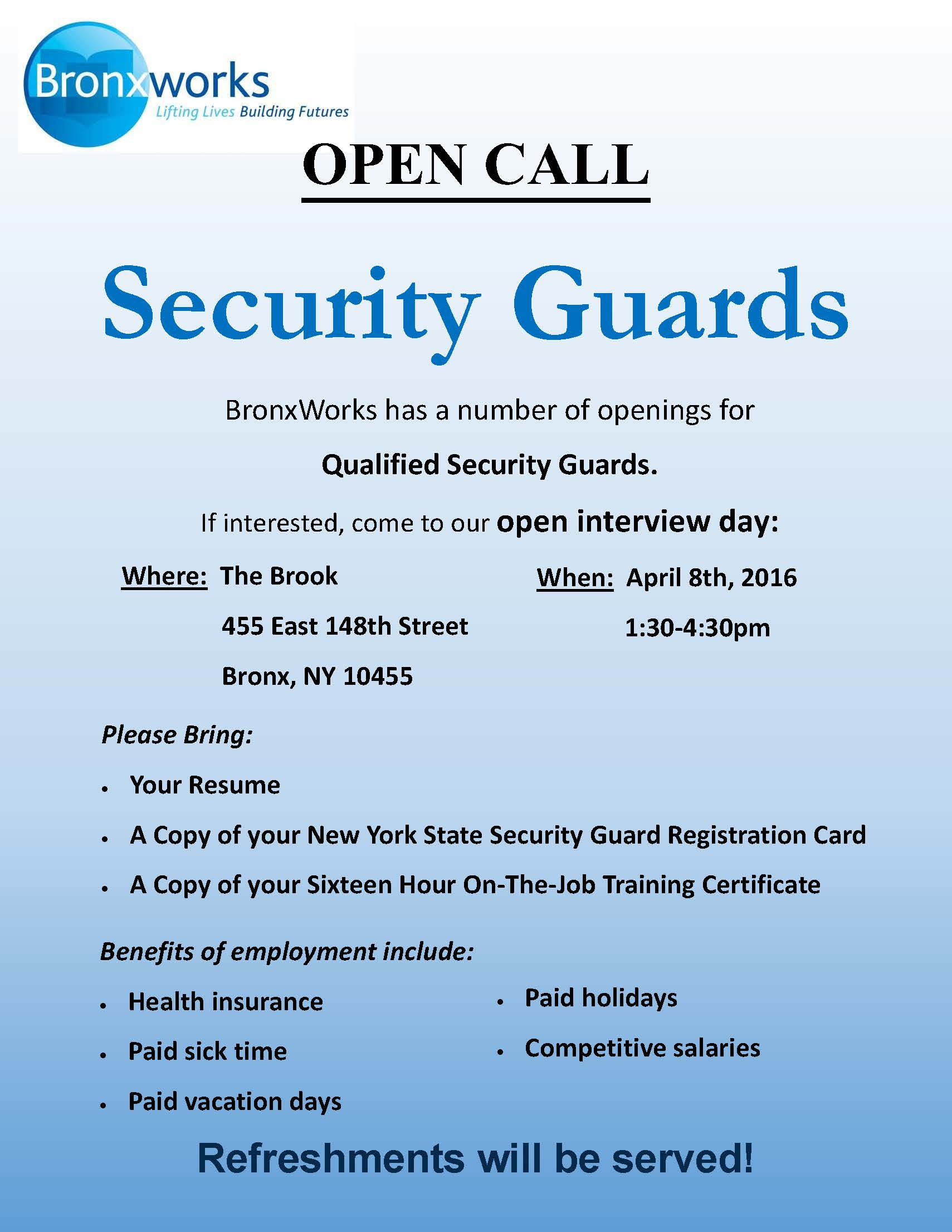 Hiring Event For Security Guards 4/8/16