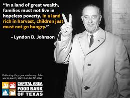 President Lyndon B. Johnson spearheaded the War on Poverty during his Great Society era.