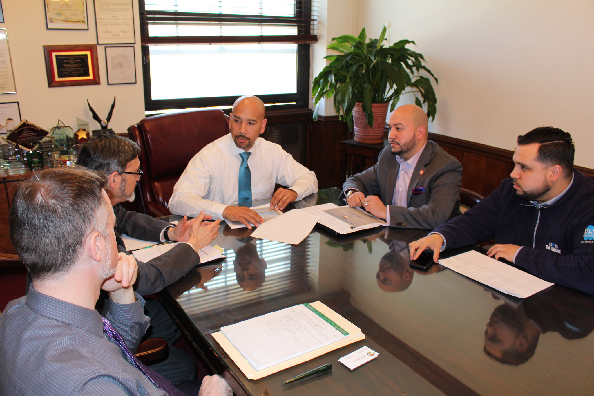 Bronx Borough President Ruben Diaz Jr. and City Council Member Rafael Salamanca Jr. discussed budget priorities for Council District #17 with their staffs during a meeting in the borough president's office on April 15, 2016.