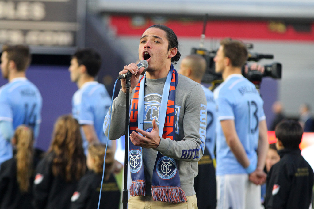 Anthony Ramos, actor from Hamilton sings the National Anthem before Sunday's NYCFC match against the Chicago Fire.  (Photo: Gary Quintal)