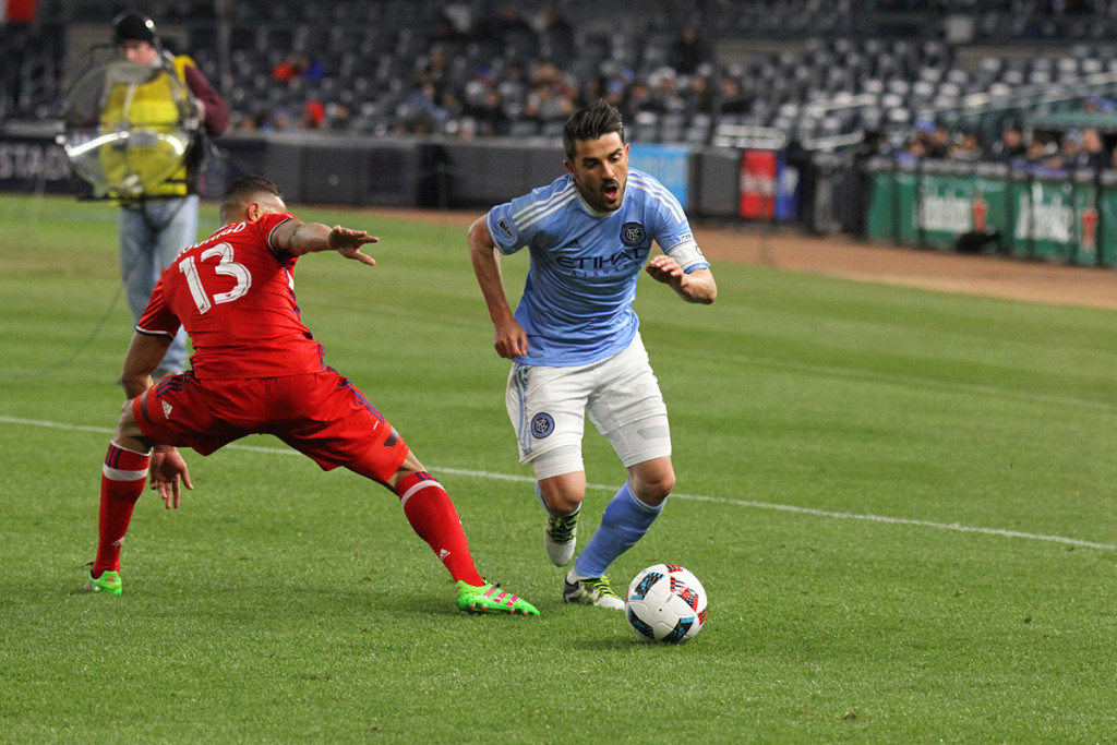 David Villa, NYCFC. takes control. Photo credit: Gary Quintal.