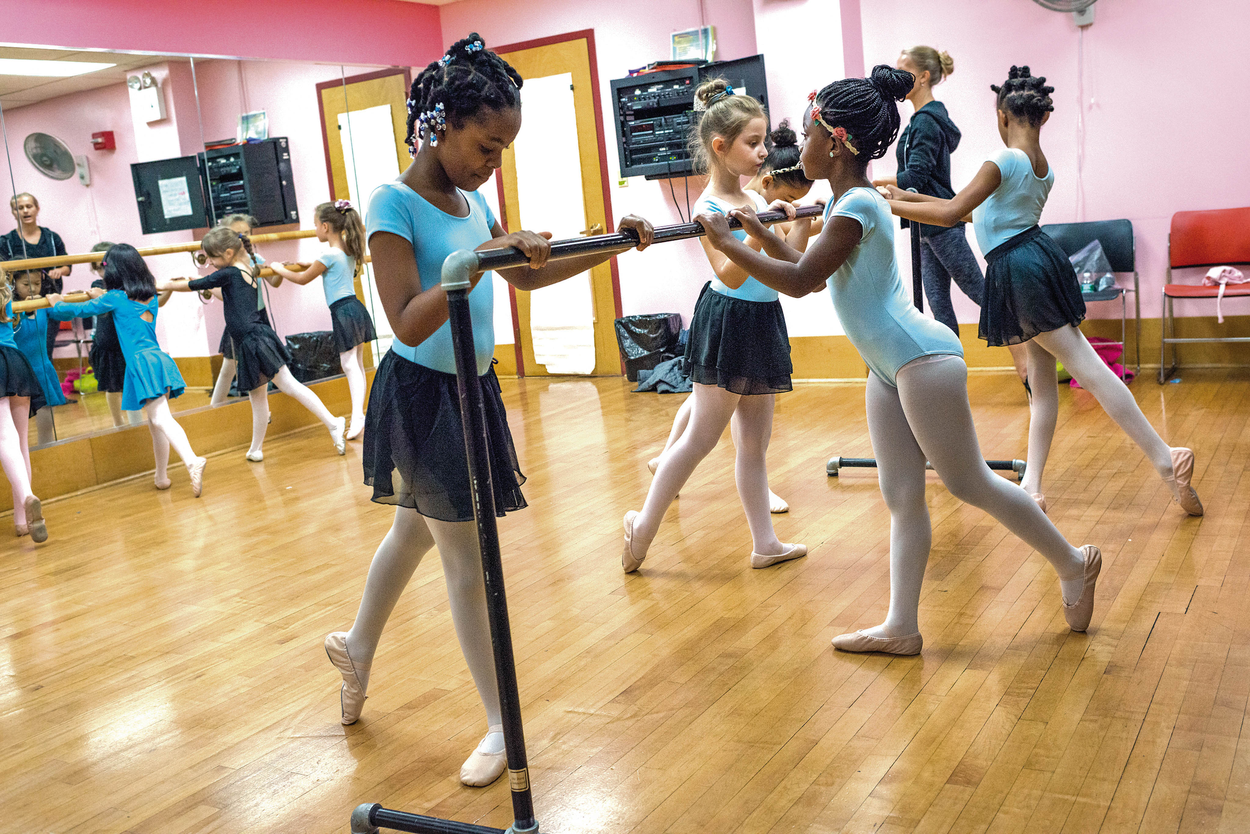 Photo by Adrian Fussell -- Girls aged 5 and 6 from a pre-ballet class perform to music at the Bronx House School for Performing Arts on Saturday.