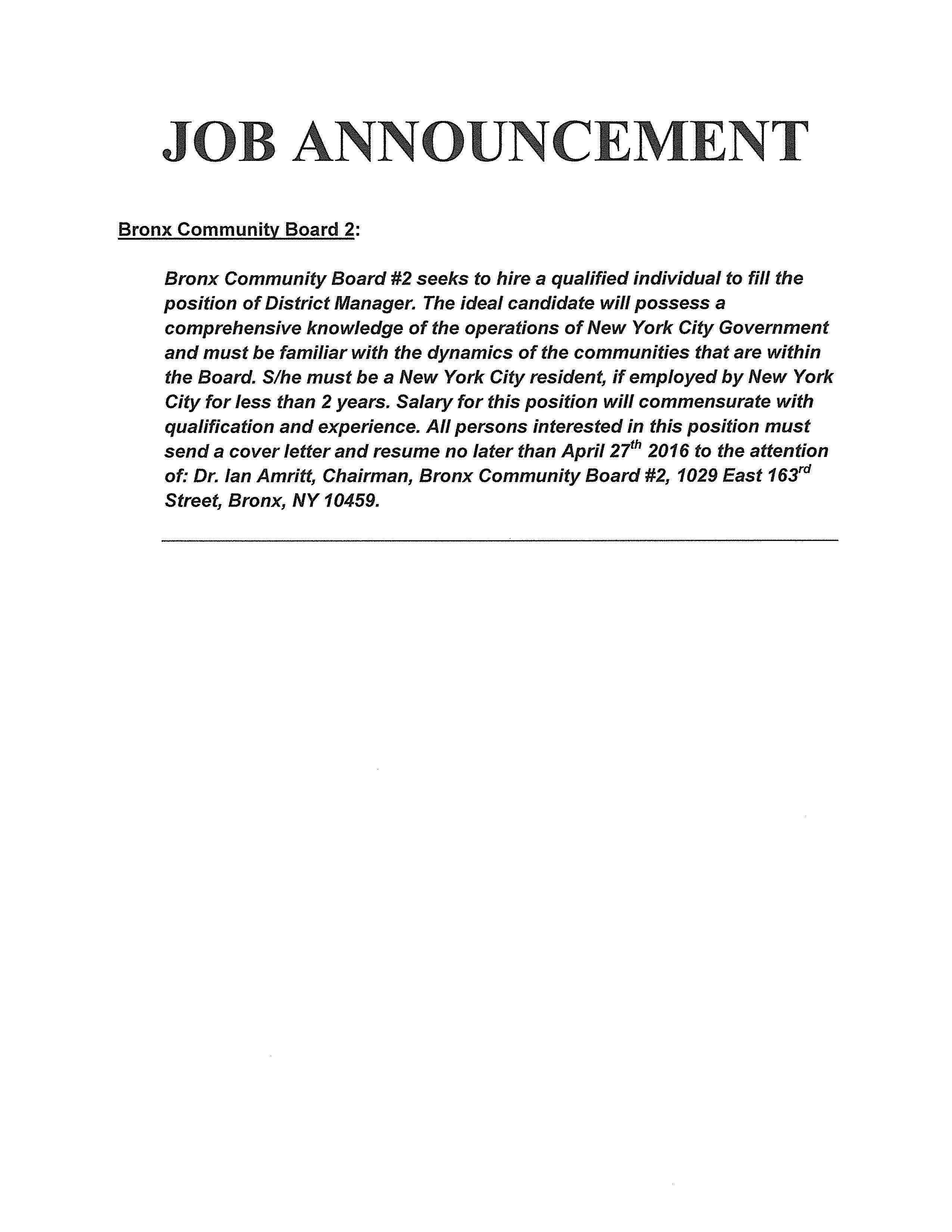 Bronx Community Board 2 District Manager Job Posting