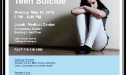 """Annual Jacobi/NCB Mental Health Conference- """"Preventing Teen Suicide"""" Monday, May 16th"""