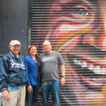 (l-r) Dr. Cary Goodman, 161st Street BID's executive director; Council Speaker Mark-Viverito; and Mike Rendino, Stan's Sports Bar owner, in front of the Derek Jeter mural. Photo courtesy 161st St BID