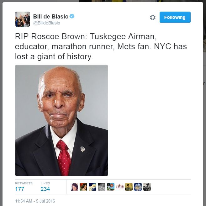 Roscoe Brown_Bill de Blasio-Twitter
