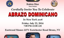"Senator Ruben Diaz to host ""Abrazo Dominicano in New York,"" July 22"