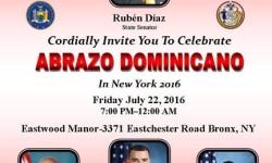 "Senator Ruben Diaz to host ""Abrazo Dominicano in New York,"" July 22"