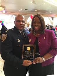 Captain Walton accepting a plague from CM Vanessa L. Gibson, Chairperson, Public Safety Committee, NYCC. Credit: Twitter