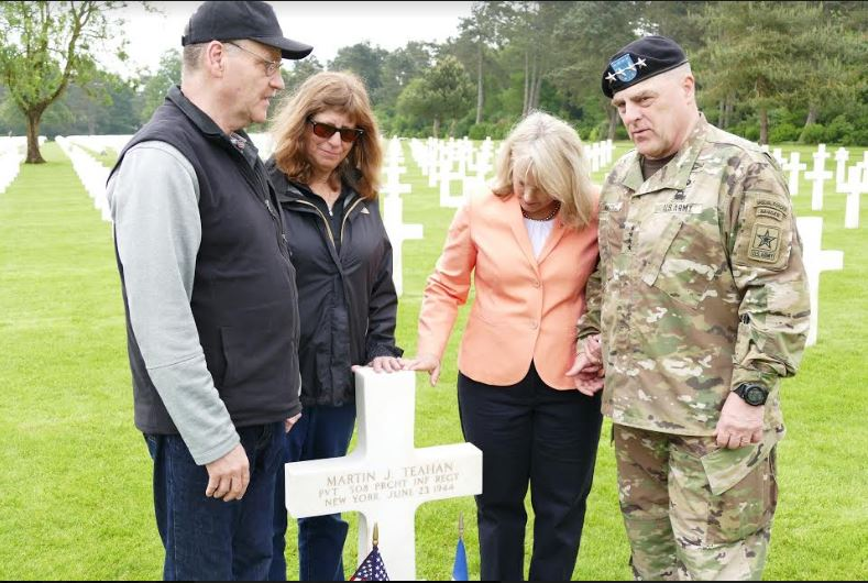 Jim Farrell was afforded the opportunity to visit the site of Uncle Matty's grave in France, where he and family members met the U.S. Army Chief of Staff General Mark A. Milley to salute and say a prayer.