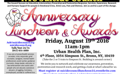 NYC Suicide Council Anniversary Luncheon, August 19th