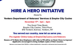 Hire a Hero – Veterans Job Fair at Empire City Casino on November 17th