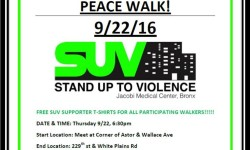 SUV 2nd Anniversary Peace Walk – September 22nd, 6:30p.m.
