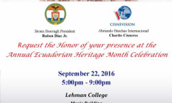 Ecuadorian Heritage Month Celebration – September 22nd