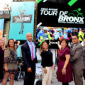 "Bronx Borough President was joined at Times Square by Bronx officials as well Tour de Bronx sponsors to tout the event's new billboard that will be on full display at the ""The Crossroads of the World.""  Pictured:  (from left to right): Coca Cola Refreshments Vice President Donna Cirolia, Office of Community Relations & Mosholu Preservation Corporation Senior Director Melissa Cebollero, Bronx Borough President Ruben Diaz Jr., The Bronx Tourism Council Executive Director, President of the Bronx Overall Economic Development Corporation Marlene Cintron, Lehman College Director of Government Relations & Community Development Institutional Advancement Nestor Montilla Sr.; and Bike Rent NYC Executive Manager Mark Derho."