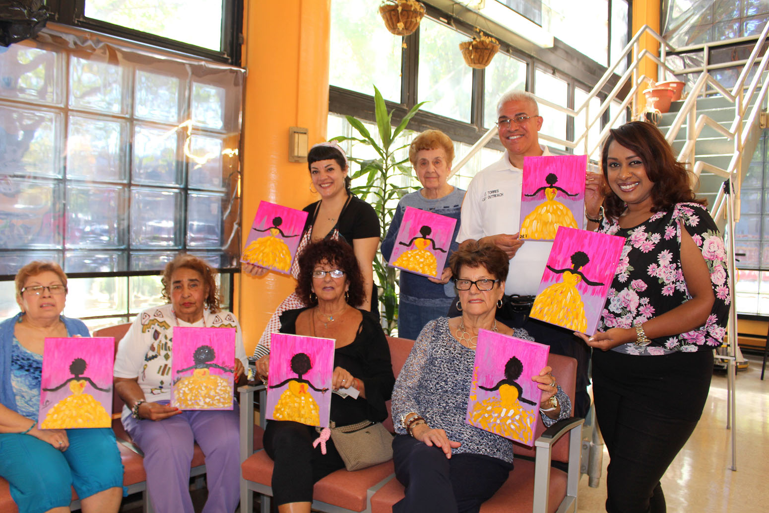 Top: Laura Alvarez, Mary Prezioso, Lt. Jose Torres, Bottom: Lucila Alvarez, Rosa Rivera, MaryAnn Lyman, Silvana Pagliaro and Bharati S. Kemraj