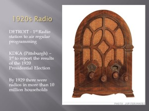 First commercial radio broadcast: Results of the 1920 Presidential Election -- Gov. Warren G. Harding's landslide victory.