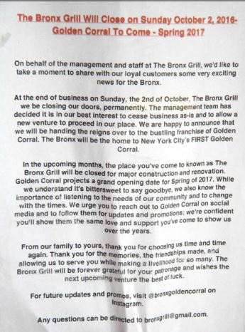 Customers to the Bronx Grill were met with the unexpected announcement of their closing.-- Photo by David Greene