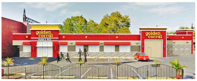 An artist's rendering of the new Golden Corral restaurant, opening on East Tremont Avenue in the Spring of 2017.