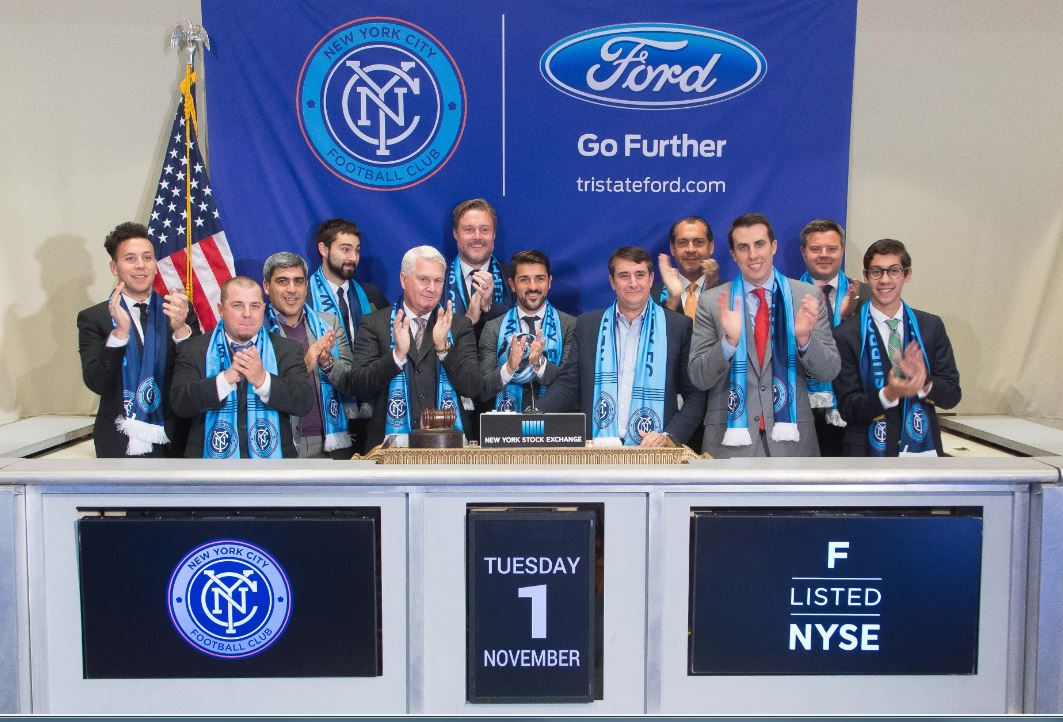 New York City FC's David Villa Rings the Closing Bell at NYSE. Credit: NYC FC.