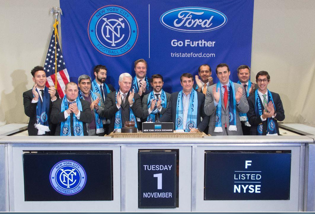 New York City FC's David Villa Rings the Closing Bell at NYSE. Credit: NYC FC.