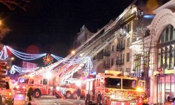 Southern Boulevard was shutdown Sunday night as firefighter's battled a 3-alarm blaze in Foxhurst.--Photo by Edwin Soto
