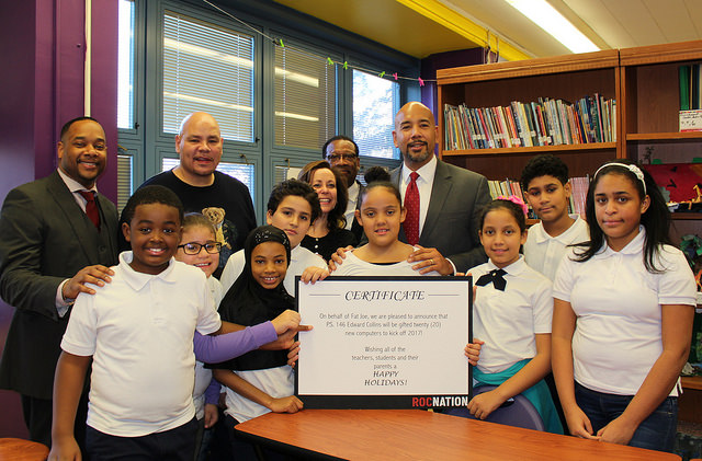 Bronx Borough President Ruben Diaz Jr. joined with hip-hop superstar Fat Joe to announce the delivery of new computers to the students at P.S. 146 , in time for the holiday season. The donation was made in memory Fat Joe's sister, Lisa Cartegena.