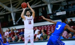 Chartouny jumper for two of his 14 points on Central Connecticut State. Photo by Robert Cole.