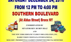 Senator Rev. Ruben Diaz Welcomes All Christmas Eve Humanitarian Relief Effort