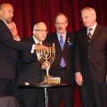 December 22, 2016: Borough President Ruben Diaz Jr. (far L) is assisted by Rabbi Israel Greenberg (middle L), U.S. Congressman Eliot Engel, & NYS Assemblymember Jeffrey Dinowitz in lighting the menorah