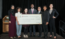 NYS Assembly Member Michael Blake, former FSCNY Scholarship Winner, presented the FSCNY/MoneyGram International Scholarship Awards to 2016's winners last May.