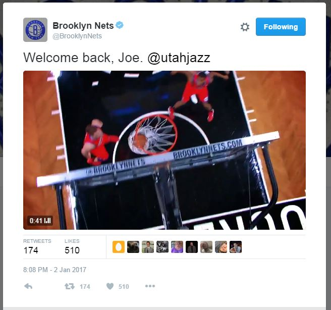 Brooklyn Nets welcome back Joe Johnson via Twitter