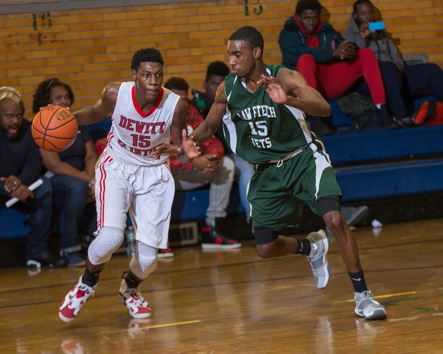 Tournament host, Dewitt Clinton lost to undefeated Brooklyn High School for Law and Technology, 71-35. Photo credit: Robert Cole