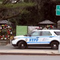 A Highway Patrol officer takes 3-D photos outside of the New York Botanical Gardens on December 8.--Photo by David Greene