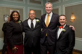 (Pictured) Public Advocate Letitia James, REBNY President John Banks, Mayor Bill de Blasio and developer Hal Fetner of Fetner Properties.