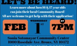 Bulletin Board: Community Board Workshop for Youth, February 1
