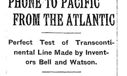 The first transcontinental phone call occurred on January 25, 1915.