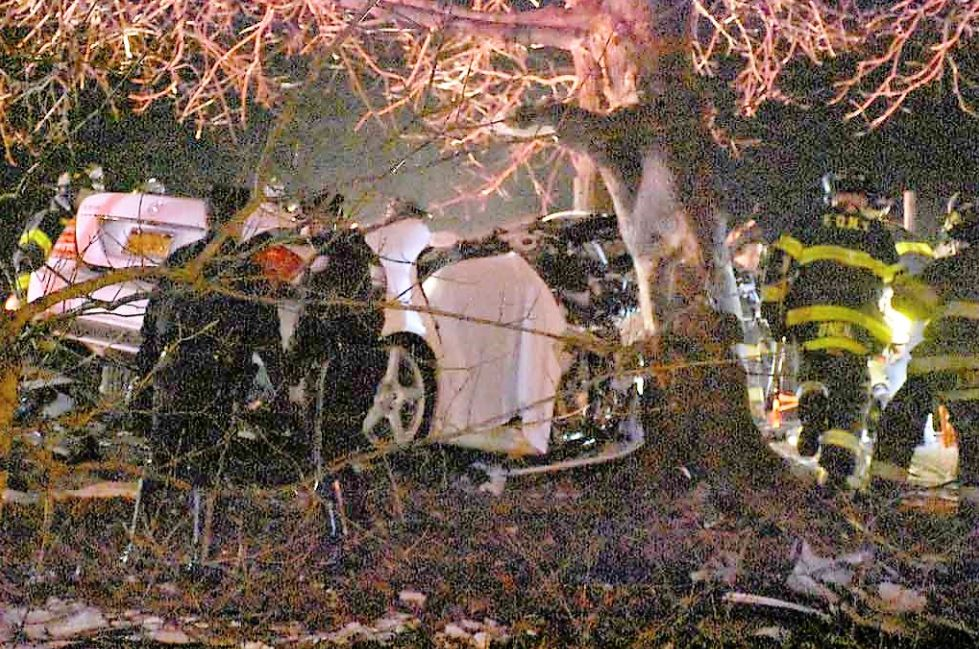 A white Mercedes Benz wrapped around a tree after an early morning crash on the Bronx River Parkway. Photo by Edwin Soto