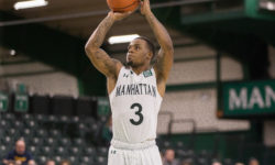 Zavier Turner takes jumper during MAAC game between Siena and Manhattan at Draddy Gym, in the Bronx New York on Sunday January 22, 2017. (Credit: Robert Cole)