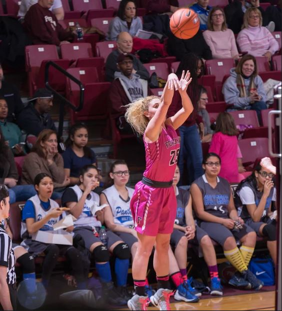 Hannah Missry hits one of her five three pointers against UMass. Photo credit: Robert Cole.
