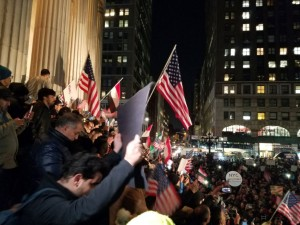 Lining the steps of Brooklyn's Borough Hall, protesters called for a halt to the temporary immigration ban. Photo courtesy of Abdul Razak Al-Kabili